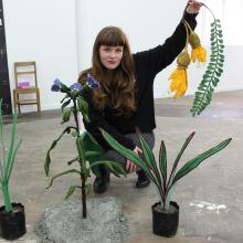 Ruth Evans displays plants she created with a range of techniques and from mostly recycled...