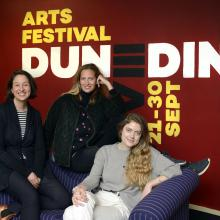 Performing one-woman shows at the Arts Festival Dunedin are (from left) Alex Ellis (Miss Jean...