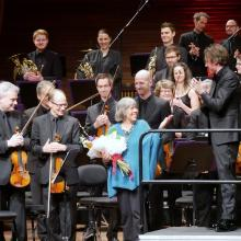 Gillian Whitehead on stage at Wellington's Michael Fowler Centre last weekend after the NZSO...