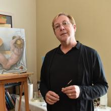 Anton Lambaart works on a piece for ''The Nude''. Photo: Gregor Richardson