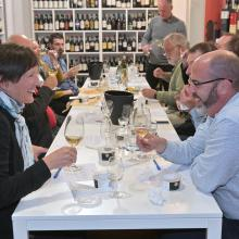 Sue Clarke and Andy Kilsby (foreground) enjoy a wine/oyster matching seminar at Wine Freedom in...
