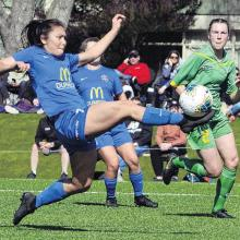 Southern United's Shontelle Smith in action against Central at the new Logan Park turf in September.