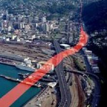 A graphic showing the Wellington fault, which runs through the central city. Photo: GNS