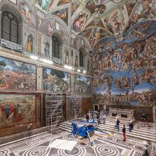 A tapestry is installed on a lower wall of the Sistine Chapel. Photo Governatorato SCV ©...