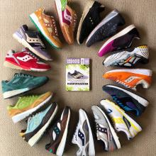 Some of his Saucony sneakers. The purple shoe in the circle and on the cover of  the magazine was...