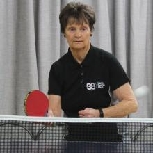 Mosgiel Table Tennis organiser June King gets ready to strike.