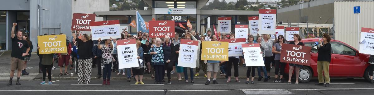 Rally against Healthcare NZ job losses