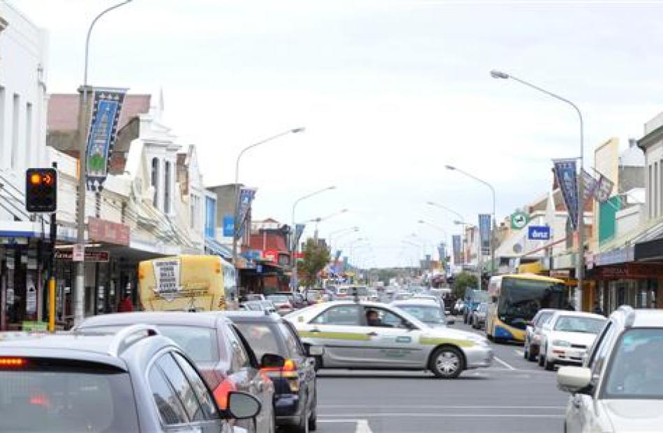 Cars cross a busy King Edward St in South Dunedin yesterday. The Dunedin City Council has...