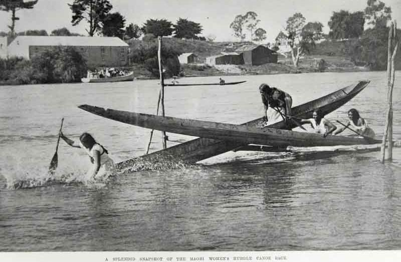 70ce21c14 Women competing in the canoe hurdle race on the Waikato river during the  Ngaruawahia regatta.