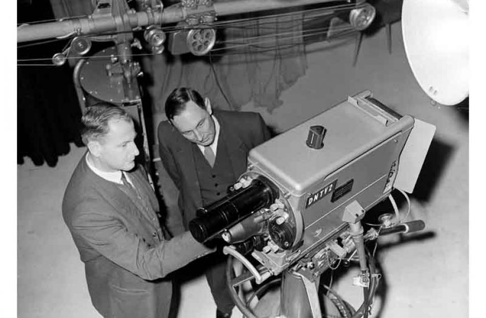 Mr K.C Sharp (left) and Mr F.W. Dawson of New Zealand Broadcasting Corporation inspecting...
