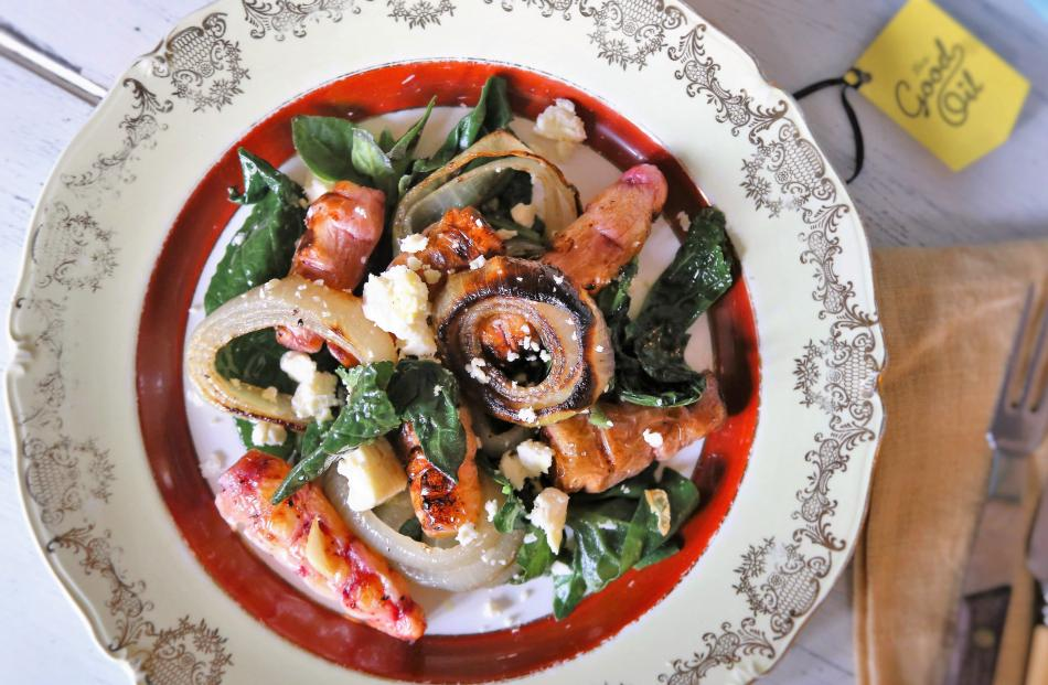 Warm yam, onion and winter leaf salad. Photo: Simon Lambert