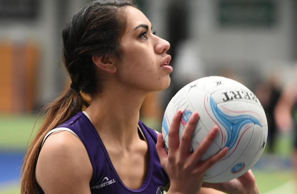 South Pacific player Kelly Nafatali looks to move the ball on in a match at the Edgar Centre last...