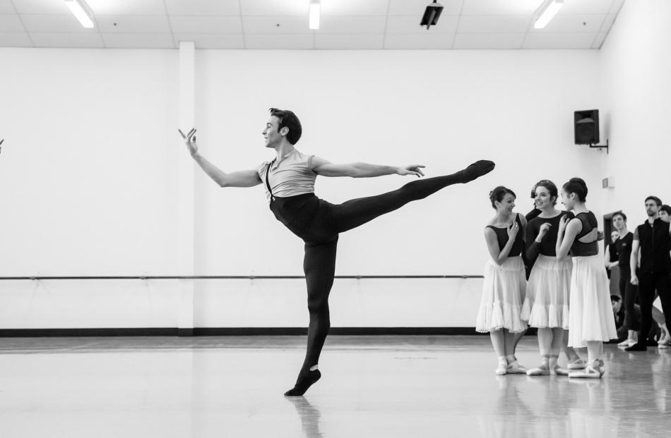 Daniel Gaudiello gets into shape as Count Albrecht in rehearsals.