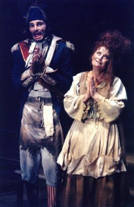 Lynda Milligan as Madame Thenardier and Daniel Towse playing Thenardier, in the Christchurch Operatic Society production of Les Miserables at the Isaac Theatre Royal in 1994. Photo by Lloyd Park.
