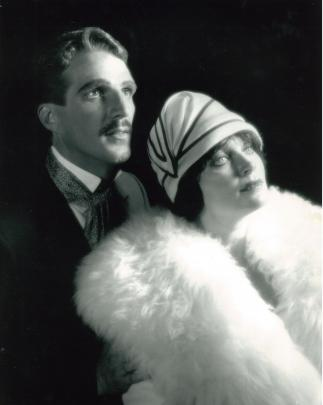 A publicity shot from a 1988 Christchurch operatic production of Mack and Mable with Lynda Milligan as the early silent movie star and David Chambers.