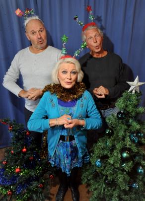 Lynda Milligan as Kath the Grandma rehearses You can always hand them back at the Fortune Theatre with musical director Paul Barret and Maurice the Granddad, Grant Bridger, in 2013. Photo by Gregor Richardson.