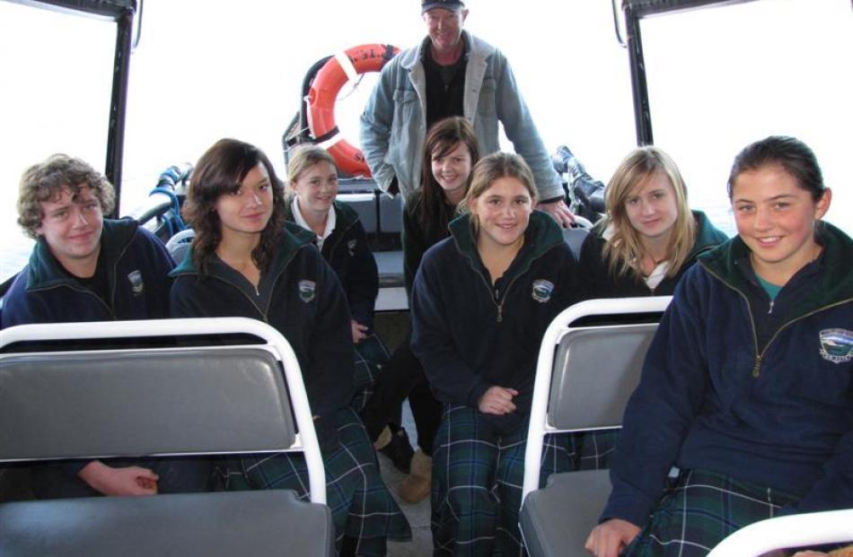 Wakatipu High School pupils (from left) Luke Herbert (15), Jay Moore (15), Grace Percy (13),...