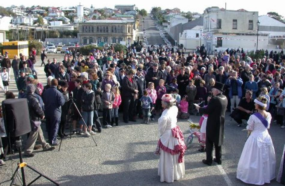 A big crowd turned out for the official opening of the Wansbeck St extension linking the Oamaru...