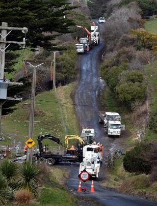 Delta staff work to replace a  pole in Maxwellton St, Pine Hill, last week. Photo: Gregor...