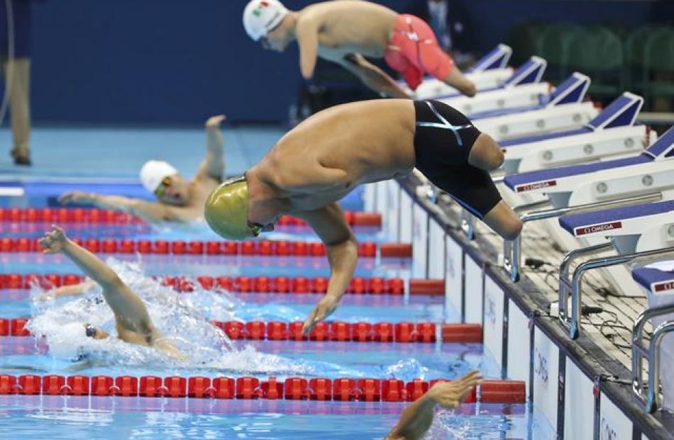 Darko Duric of Slovenia competes in the Men's 200m Freestyle - S4 at the Aquatic Stadium. Photo:...
