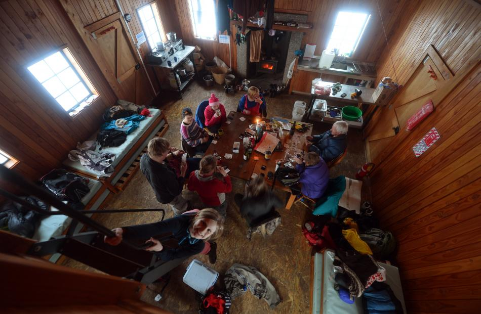 Inside Meadow Hut, during another family's occupancy. PHOTO: STEPHEN JAQUIERY