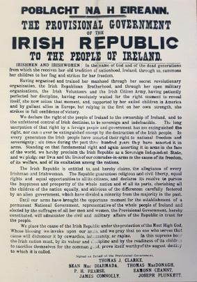 The proclamation of the Provisional Government of the Irish Republic to the people of Ireland.