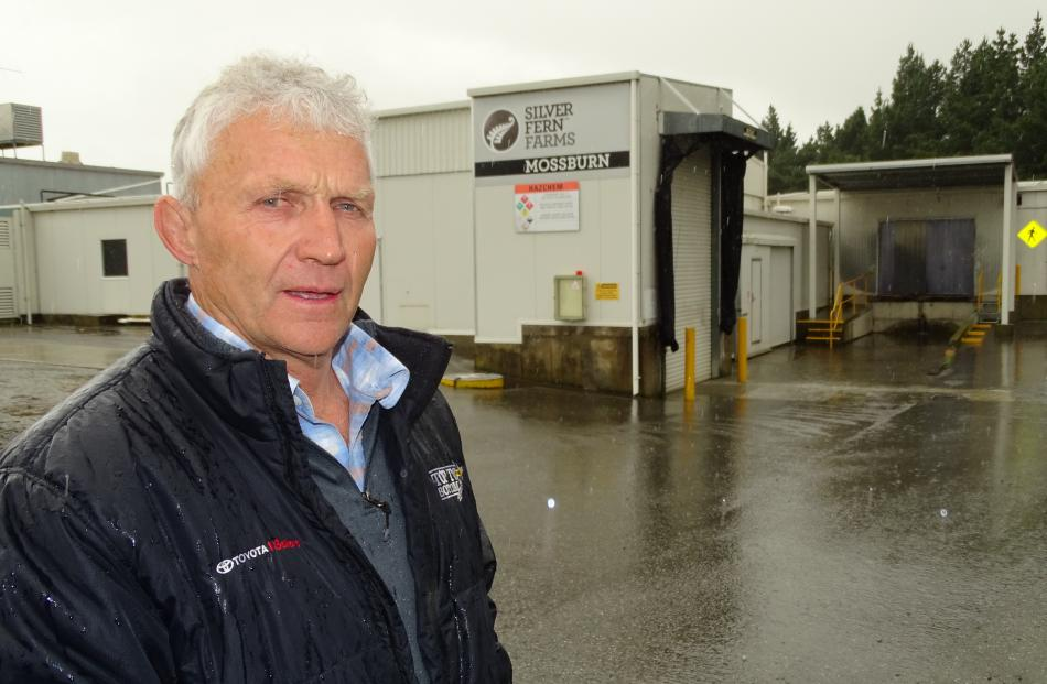 Southland district councillor for Waimea Mararoa ward, John Douglas, stands outside Silver Fern Farms' Mossburn venison plant yesterday soon after the company announced plans for closing it. Photos by Tracey Roxburgh.