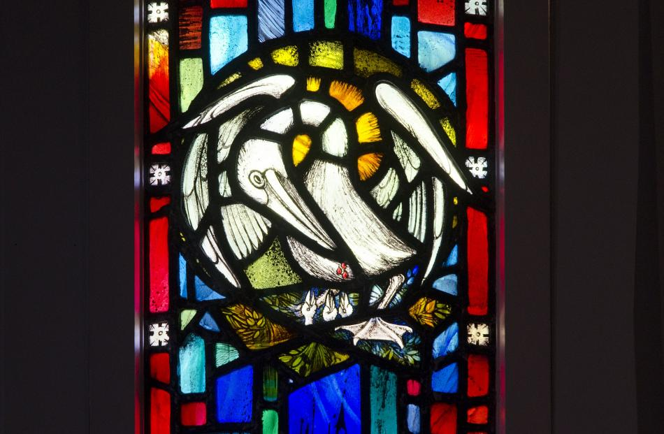 Symbols with pelican, designed by Beverley Shore Bennett, executed by Roy Miller, 1970. St Mary's...