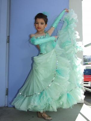 Jaguar  Band (9), of Invercargill, displays her costume for the waltz category. Photos: Lynda van...
