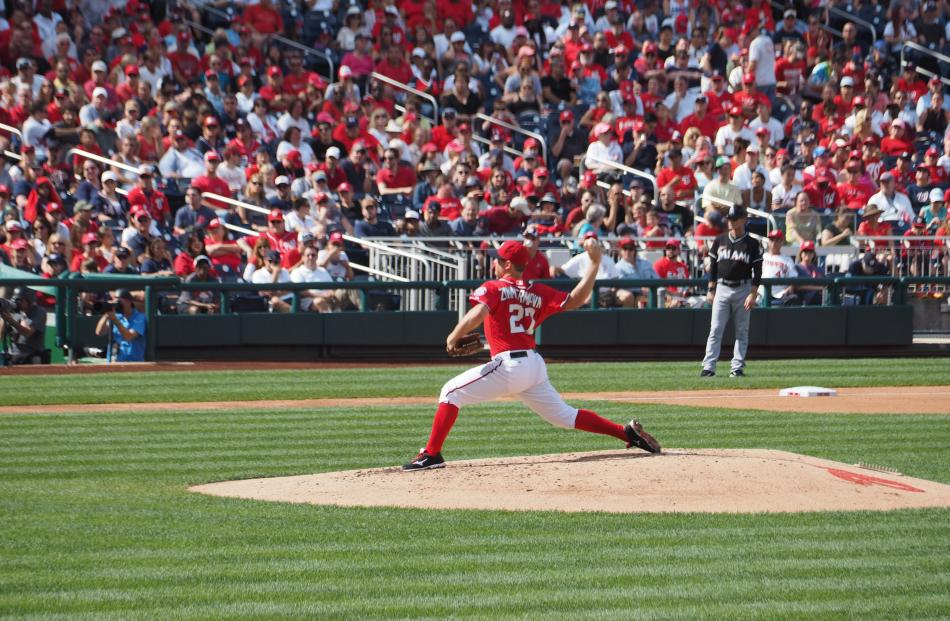 Washington Nationals pitcher Jordan Zimmerman brought the crowd to a frenzy of enthusiasm with...