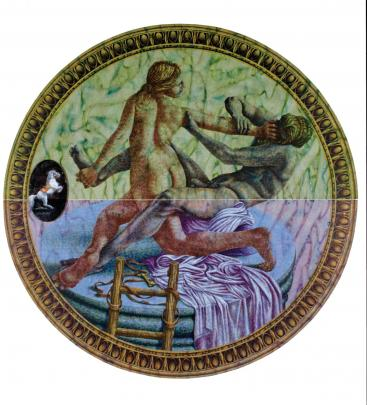 Peter Gibson Smith's Courbette: Hermaphrodite and Satyr (1993). Photo from the Collection of the James Wallace Arts Trust.