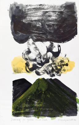 Marilynn Webb's Drawing for Yellow Cloud Block (1974). Photo from Hocken Collections, Uare Taoka O Hakena, University of Otago.