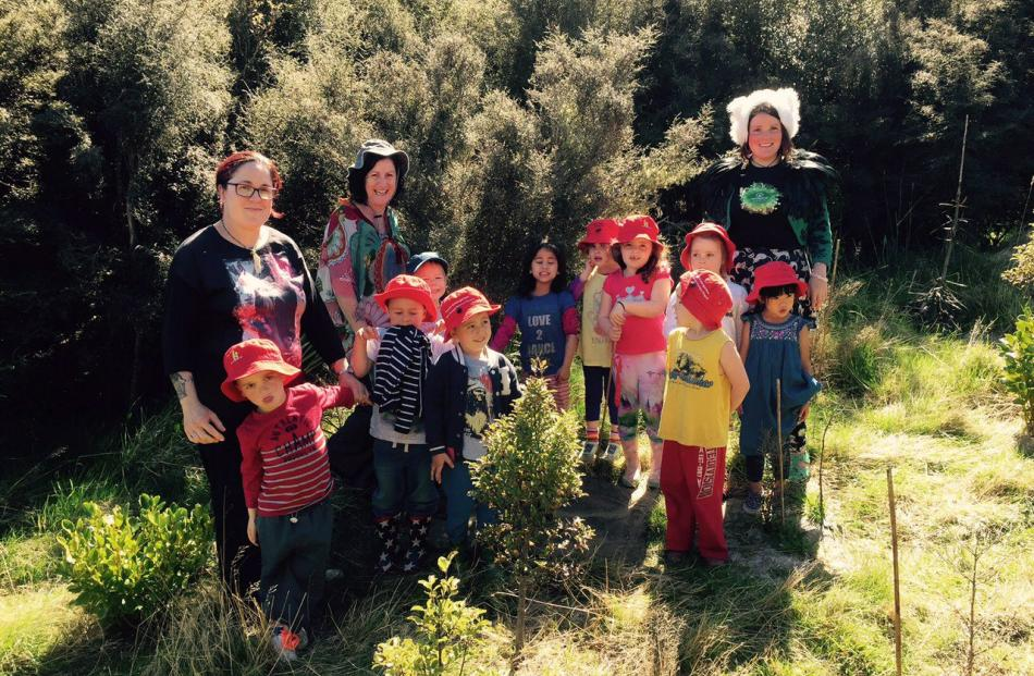 Orokonui's Ecosanctuary's education officer Tahu Mackenzie guides an enthusiastic bunch of ''eco...