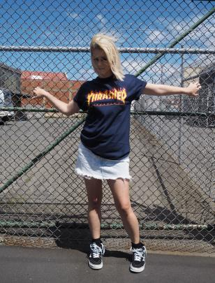 75bb4c25a3b5 Trasher t-shirt $64.99, skirt and sneakers my own (Vans available at Quest