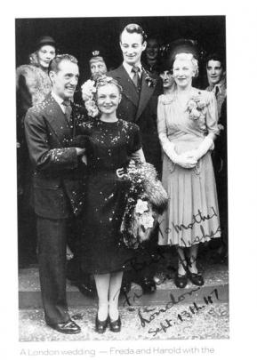 Robinson and Stark on their wedding day in London in 1947.