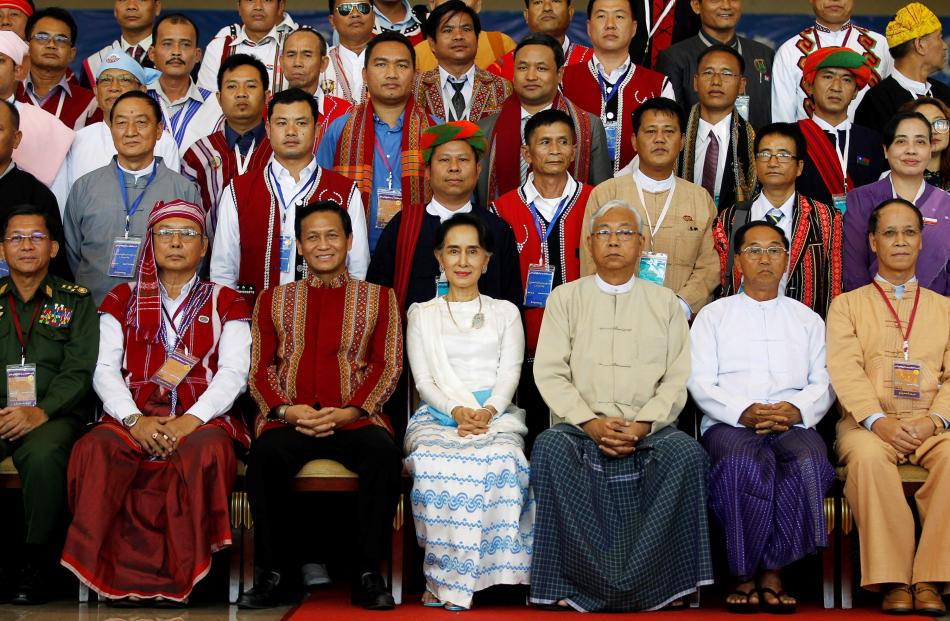 Front row, from left: Myanmar's Military Commander in Chief Senior General Min Aung Hlaing,...