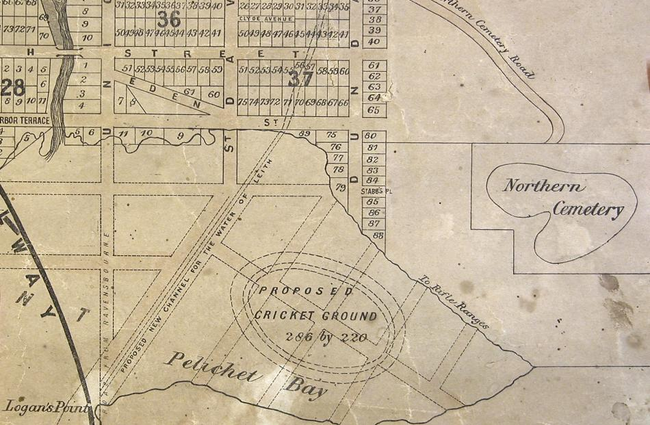 Old maps, such as this one of Pelichet Bay (today's Logan Park), can give indications of an area's past history. Photo supplied.