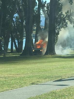 No-one was injured. It is understood the fire started while the rental van's occupants were cooking. Photo: Ryan Murray