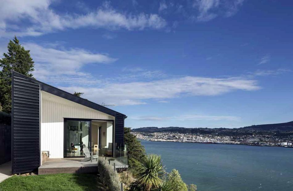 The Vauxhall House, perched on its site above Otago Harbour. Photos: supplied