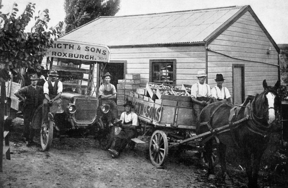 A motor lorry and wagon-load of fruit from Waigth and Sons Warrenheip Gardens in Roxburgh, bound for Beaumont in March, 1916.