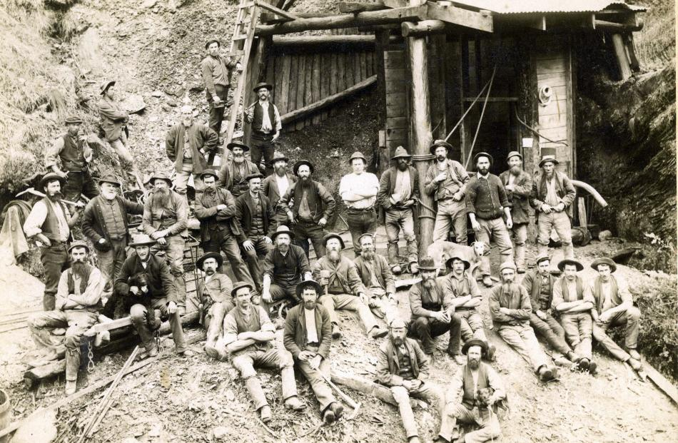 Miners at Phoenix Mine, Skippers, in 1892. Photo from Lakes District Museum.