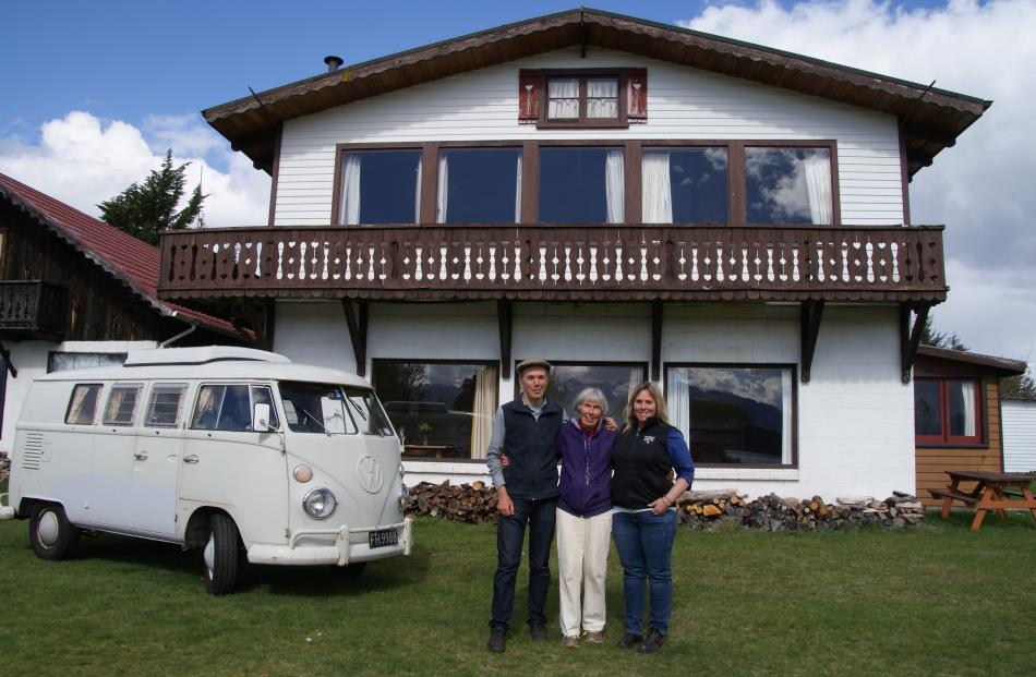 Aaron, Joelle and Inger Nicholson in front of the main Manapouri Holiday Park building with the 1966 Volkswagen camper van they brought with them from America 46 years ago. Photos by Alina Suchanski.