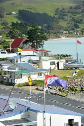 Flags fly in Harington Point, including a red version of Kyle Lockwood's silver fern flag  ...