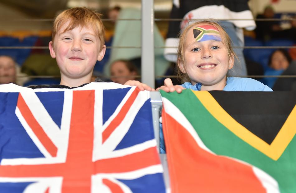 Ice hockey fans Connor McVicar (7), of Dunedin, and Erin Smith (11), of Christchurch, watch the action. Photos by Gregor Richardson.