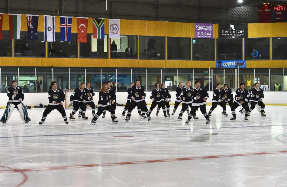 The New Zealand ice hockey under-20 division three team performs the haka before playing South Africa at the Dunedin Ice Stadium last night.