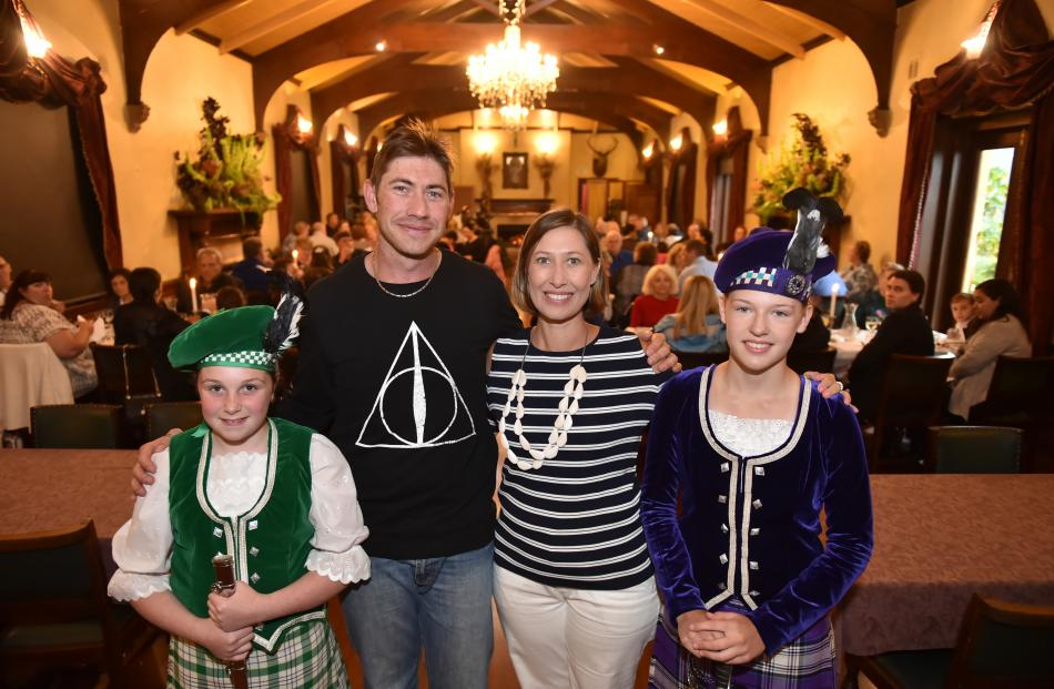 Passengers Paul Thomas (35) and Catherine Bailey (37), both of Sydney, with Highland dancers Olivia Glover (12, left) and Olivia Buchanan-Letts (14), both of Dunedin, in the Larnach Castle ballroom in Dunedin last night. Photo by Gregor Richardson.