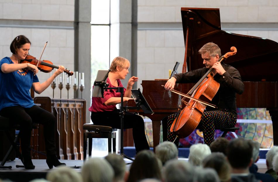 Chris Gendall has written a concerto for the NZ Trio, pictured here performing  in St Paul's Cathedral, during the Arts Festival last year. Photo by Linda Robertson.
