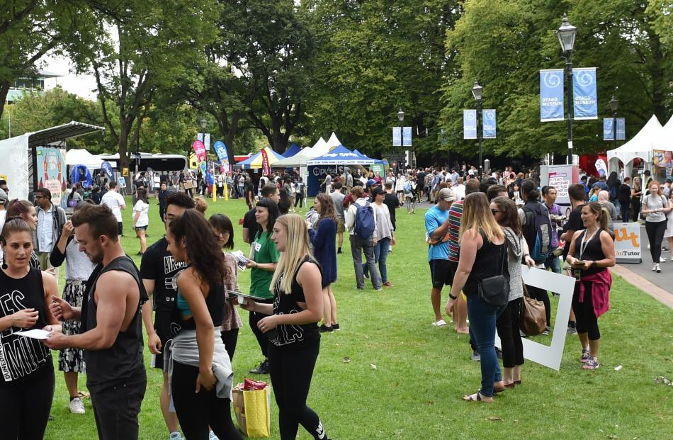 Hundreds of University of Otago students attend tent city on the Museum Reserve yesterday.