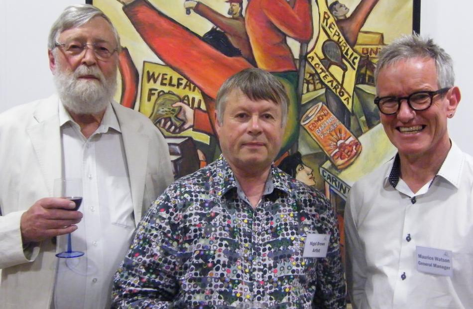 Emeritus Professor Erik Olssen, of Dunedin, artist Nigel Brown, of Dunedin, and Central Stories...