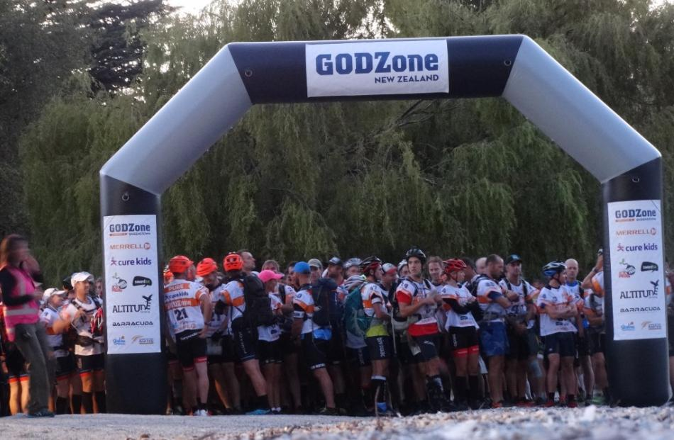 Participants at the Godzone startline in Queenstown Bay